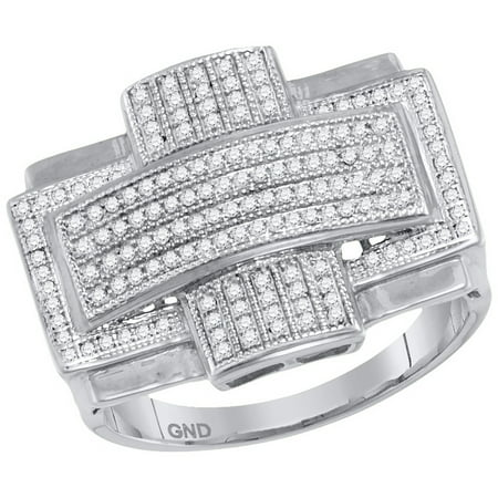 10kt White Gold Mens Round Diamond Convex Cross Rectangle Cluster Ring 1/2 -