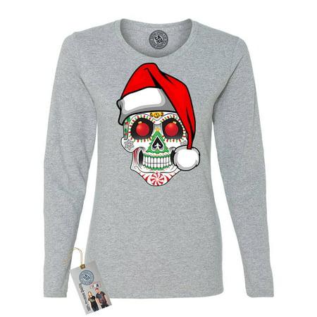 Christmas Mexican Sugar Skull Women Long Sleeve T Shirt
