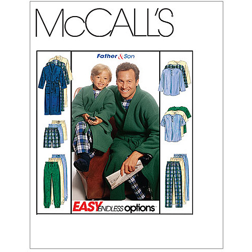 McCall's Pattern Boys' and Men's Robe with Tie Belt, Top, Pull-On Pants or Shorts, Adult (S, M, L, XL)