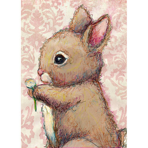 Oopsy Daisy's Bunny And Clover Canvas Wall Art, Size 10x14