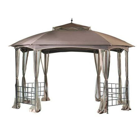 Sunjoy Harley Soft Top Octagon Gazebo with Domed Canopy and Mosquito Netting, Patio Outdoor Shade Shelter, 12' x 10', Brown