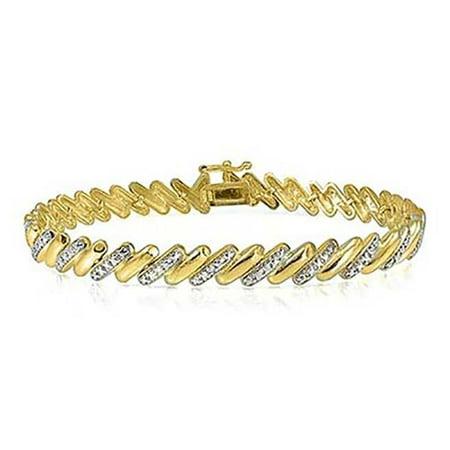 Genuine Diamond accent San Marco Bracelet in 18k Gold