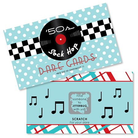 50's Sock Hop - 1950s Rock N Roll Party Scratch Off Dare Cards - 22 Count (Rock And Roll Birthday Invitations)