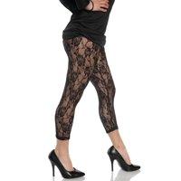 Lace Black Womens Adult 80S Diva Rocker Dance Costume Leggings-L-L