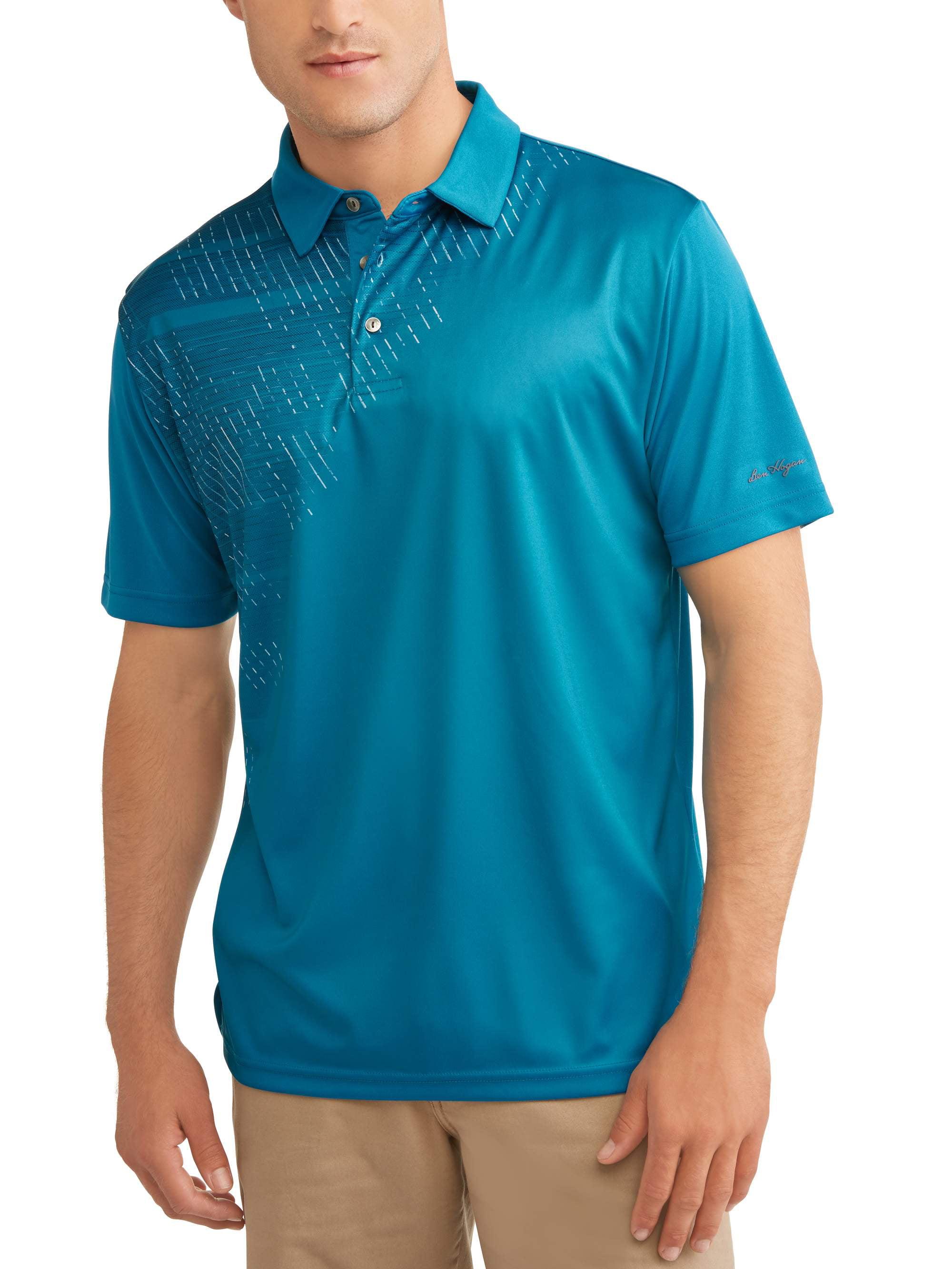 Ben Hogan Mens Performance Short Sleeve Printed Polo Shirt Up To