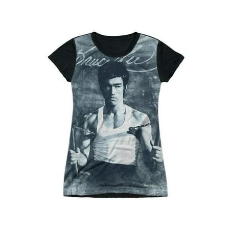 Bruce Lee Chinese Martial Arts Using Nunchucks Juniors Black Back T-Shirt Tee - Nunchucks Martial Arts