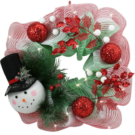 Holiday Time Red/Green Snowman Lighted Wreath, 26