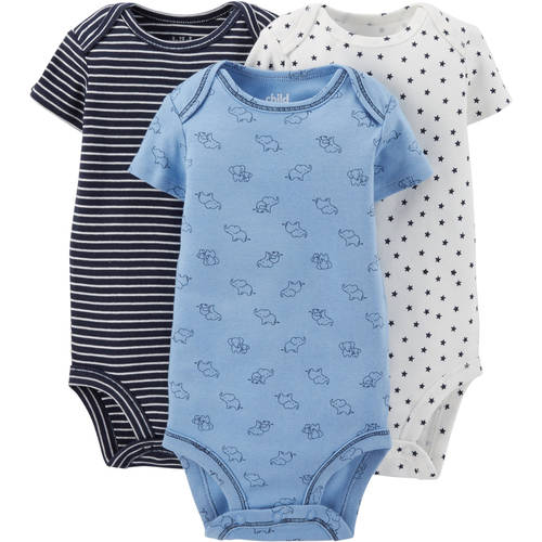 Child Of Mine by Carter's Newborn Baby Boy Short Sleeve Bodysuit, 3 Pack