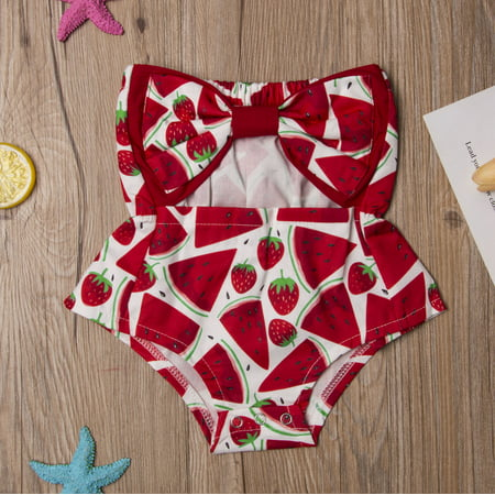 Carving Watermelon Halloween (Infant Baby Girl Sleeveless Off The Shoulder Bow Top Hollow Carved Design Watermelon Print)