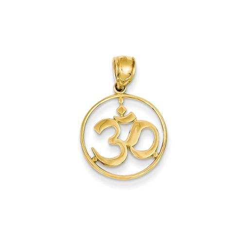 14k Yellow Gold Cut-out Round Frame Yoga Symbol Pendant