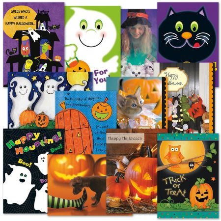 Halloween Greeting Cards Value Pack - Set of 12 (1 of each) - Happy Halloween Messages Card