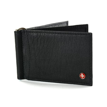 Black Money Clip - Alpine Swiss RFID Blocking Men's Money Clip Deluxe Spring Loaded Leather Wallet Black One Size