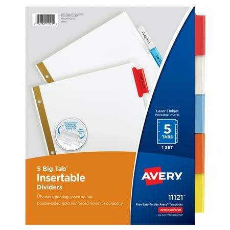 Avery 5-Tab Binder Dividers, Insertable Multicolor Big Tabs, 1 Set (11121)