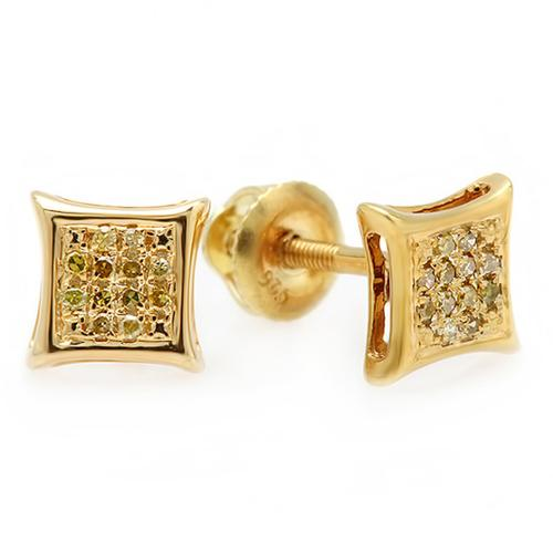 Sterling Silver 1/10ct Yellow Color-enhanced Diamond Micro Pave Stud Earrings