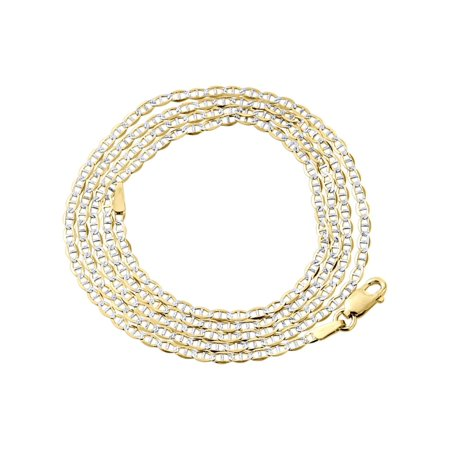 10K Yellow Gold 2.0mm Diamond Cut Mariner Chain Necklace Lobster Clasp, 16 Inches