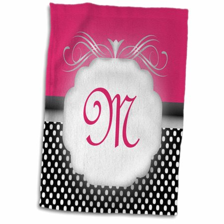 3dRose Elegant Pink with Black and White Polka Dot Monogram Letter M - Towel, 15 by 22-inch