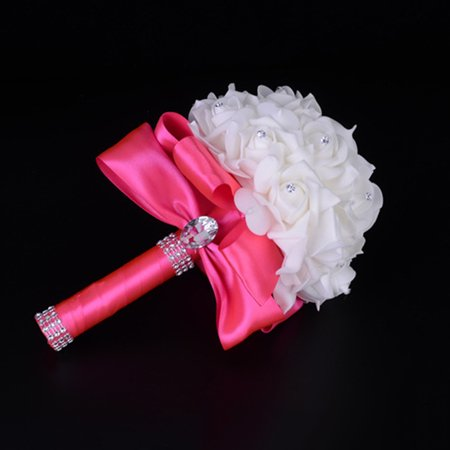 (Mosunx Crystal Roses Bridesmaid Wedding Bouquet Bridal Artificial Silk Flowers Hot Pink)