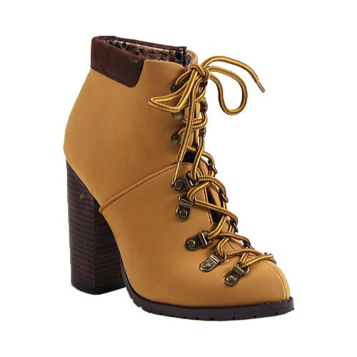 Luichiny Anna may IMI Suede Lug Sole Lace Up Combat Stacked heel Ankle Booties (7, Chamois Timberland Yellow) by