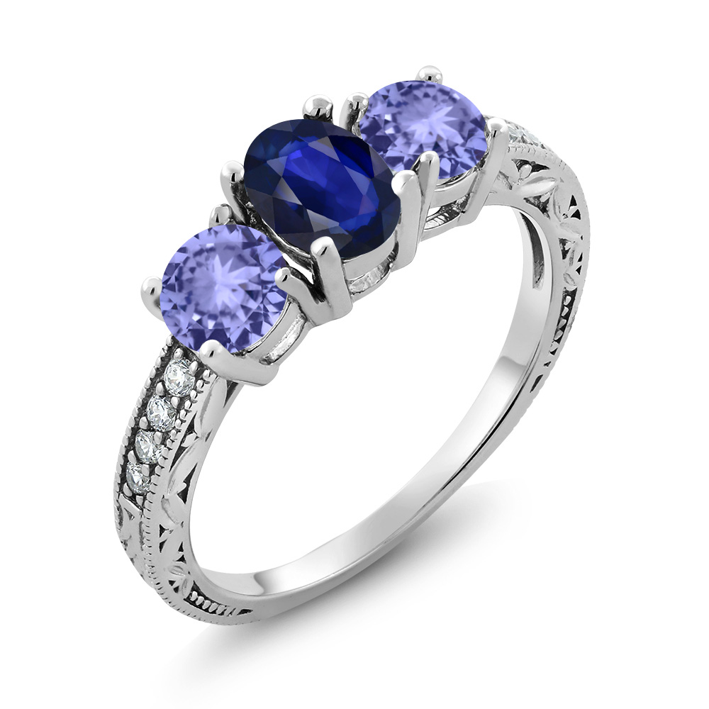 1.61 Ct Oval Blue Sapphire Blue Tanzanite 18K White Gold ...