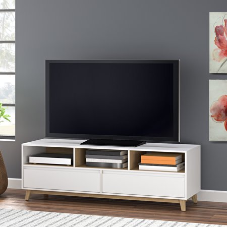 low priced 2520c c1401 Mainstays Mid-Century TV Stand, White Finish for TVs Up to 70