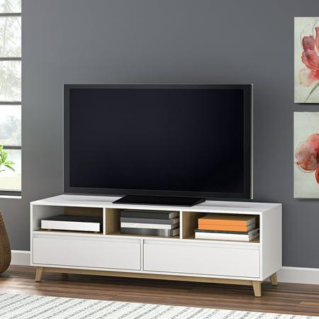 Mainstays Mid Century Tv Stand White Finish Walmart Com