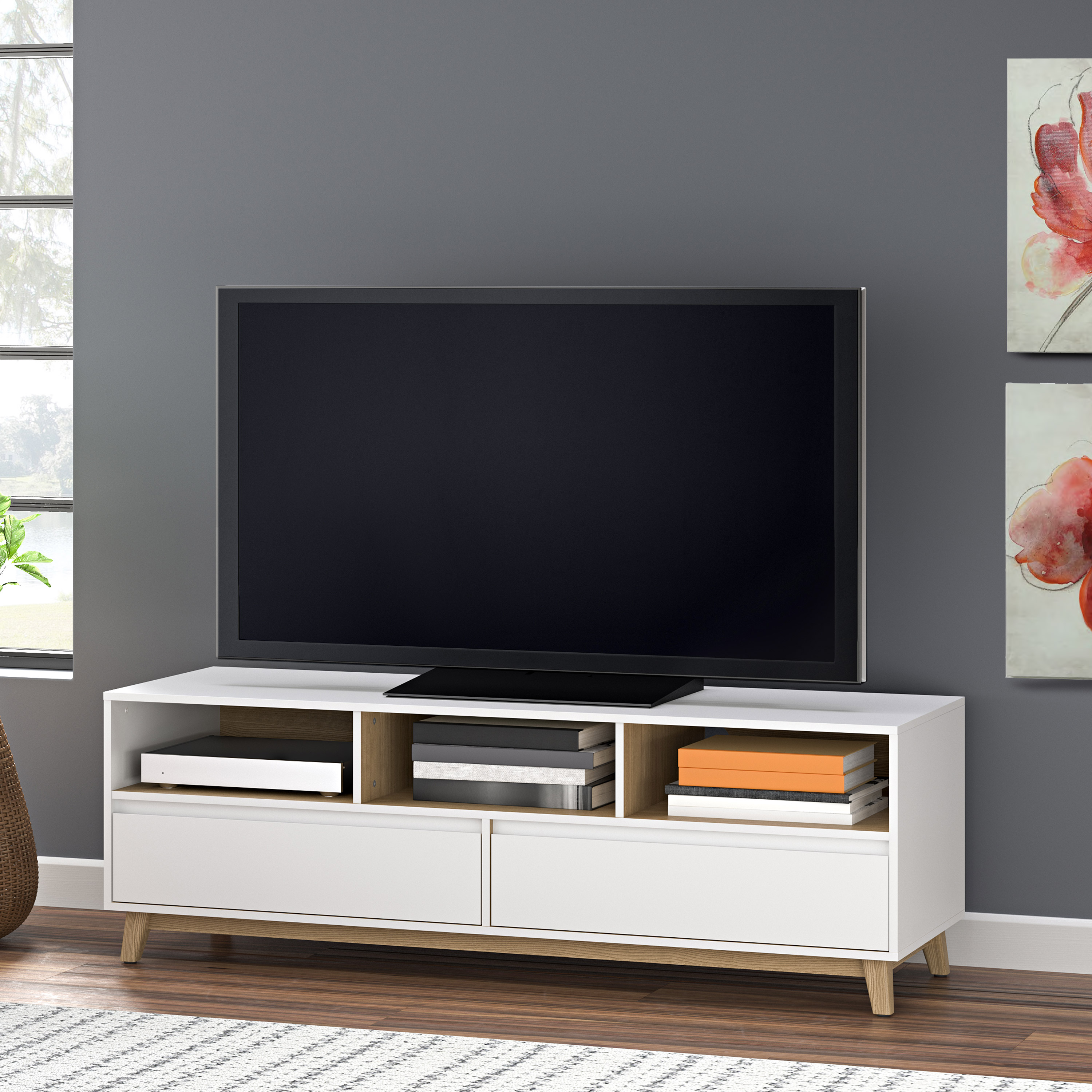 """Mainstays Mid-Century TV Stand, White Finish for TVs Up to 70"""""""