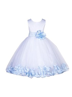 9d5cb97703e Product Image Ekidsbridal White Lace Top Tulle Bodice Floral Petals Flower  Girl Dresses Formal Special Occasions Dresses Wedding