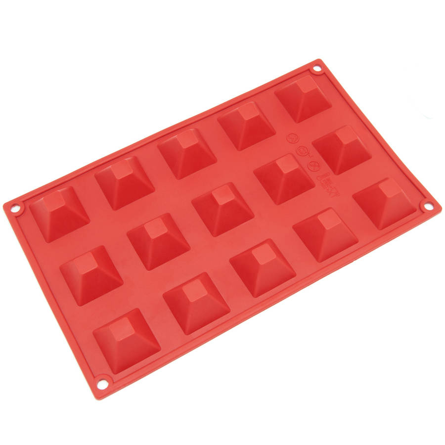 Freshware 15-Cavity Mini Pyramid Silicone Mold for Chocolate, Candy and Gummy Mold, SM-101RD