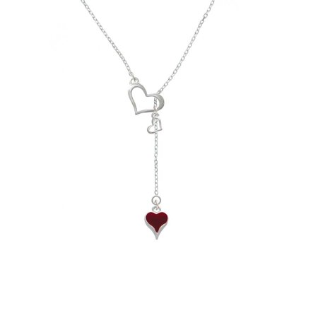 Long Lariat - Silvertone Small Long Maroon Heart - In My Heart Lariat Necklace
