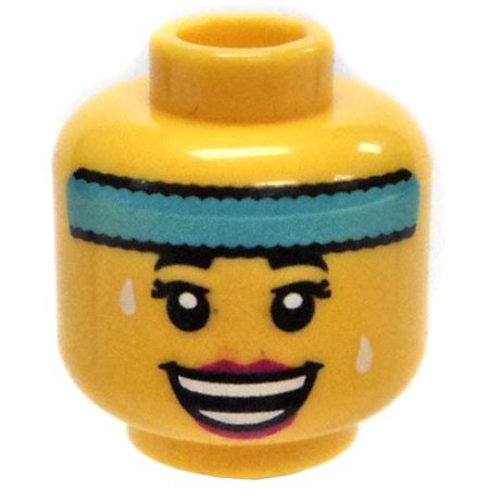 LEGO Minifigure Parts Yellow Female Head with Light Blue Sweatband and Big Smile Minifigure Head [No Packaging]