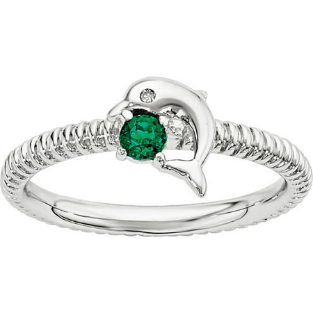 Emerald May Birthstone Ring - Created Emerald and Diamond Sterling Silver Dolphin Ring