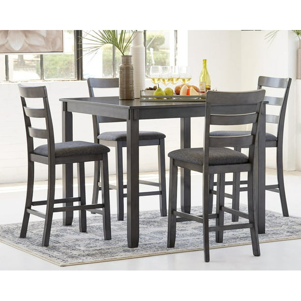 Square 5 Piece Counter Height Table Set, Gray Dining Room Set