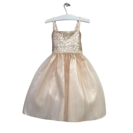 Efavormart Twinkling Sequined Bodice and Tulle Overlay Skirt Dress Birthday Girl Dress Junior Flower Girl Wedding Gown Girls Dress (Twinkle Dress)