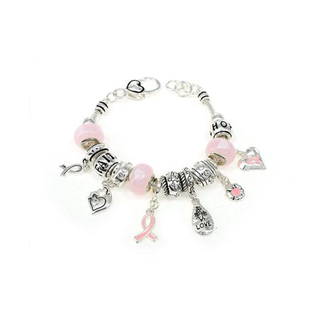 Breast Cancer Beading Watch (Beautiful Breast Cancer Pink Ribbon Multi Charms Silver Tone Lobster Clasp)