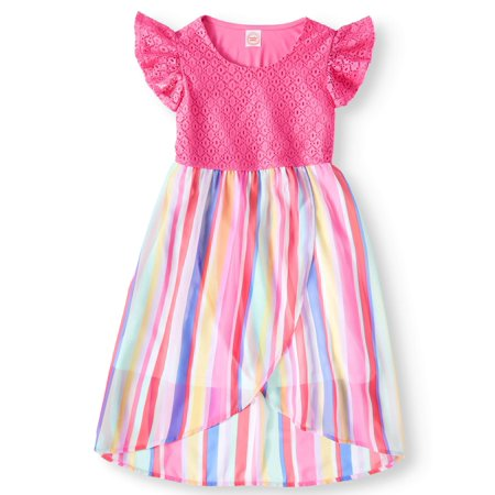 Lace and Chiffon Dress (Little Girls, Big Girls & Big Girls Plus) - Girls Dresses Size 7