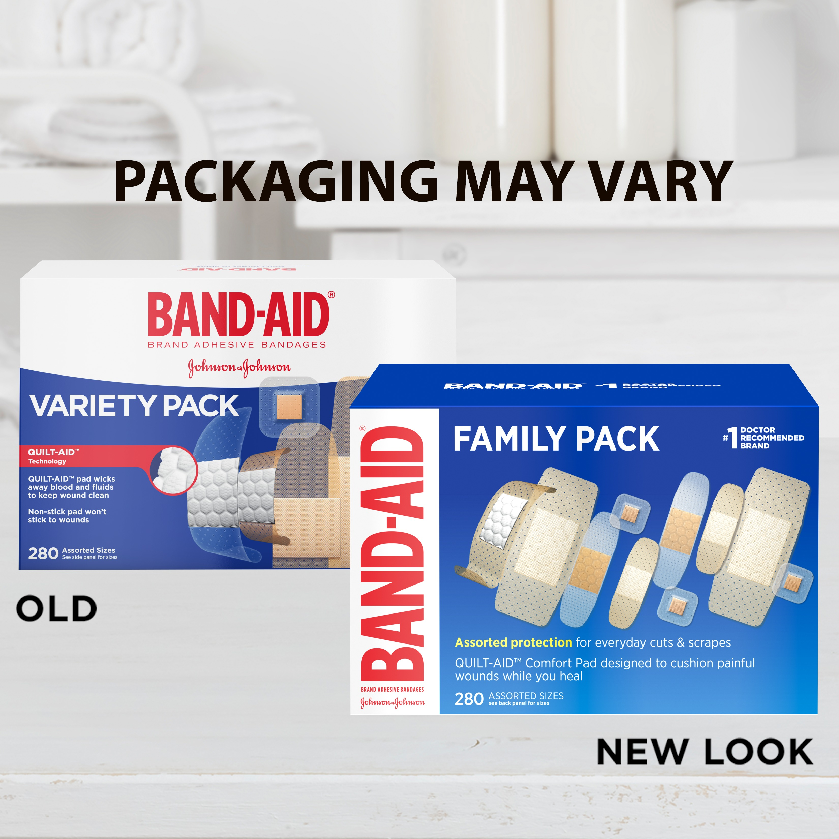 Band-Aid Brand Adhesive Bandage Family Variety Pack, Assorted Sizes, 280 ct