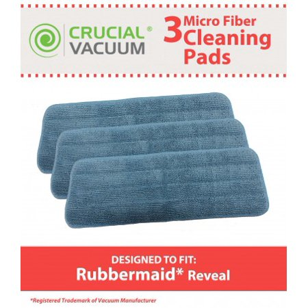 3 Rubbermaid Reveal 1M19 Mop Pad Fits All Spray Mops & Reveal Mops