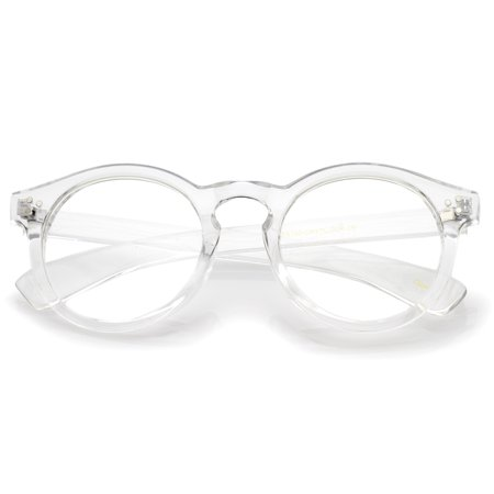 sunglassLA - Classic Translucent Wide Temple Round Clear Lens P3 Round Eyeglasses 50mm (Clear / Clear) - (Round Glasses Transparent)