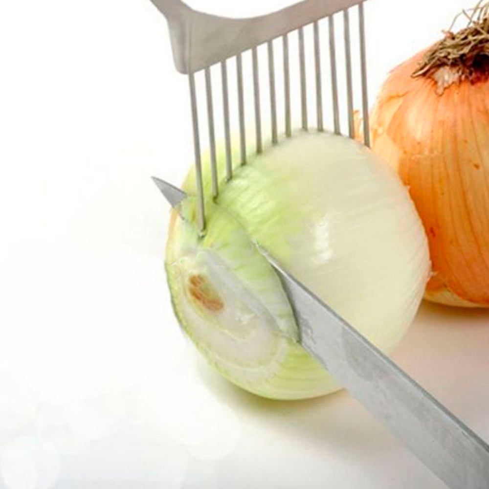 Onion Tomato Vegetable Slicer Cutting Aid Guide Holder Slicing Cutter Gadget New