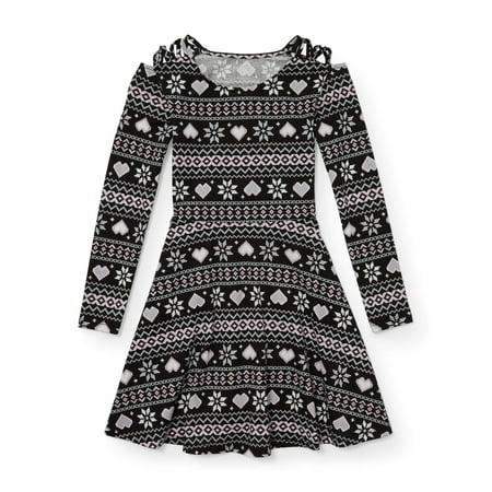 Long Dress Girl (The Children's Place Heart Fairisle Long Sleeve Knit Dress (Little Girls & Big)