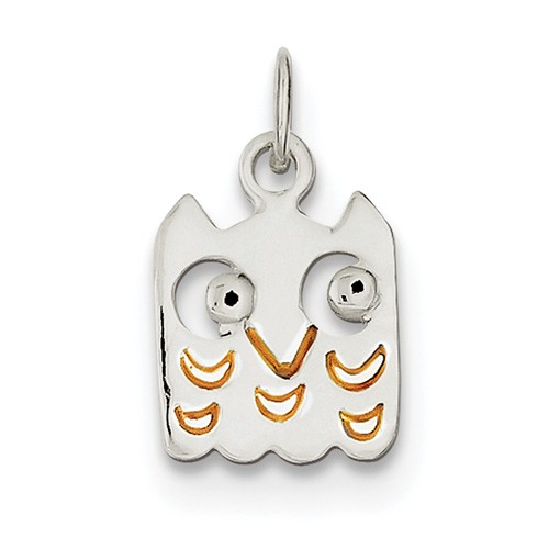 Sterling Silver Yellow Enameled Owl Charm (0.6in long x 0.4in wide)