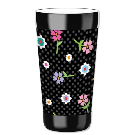 Mugzie 16-Ounce Tumbler Drink Cup with Removable Insulated Wetsuit Cover - Flowers & Polka - Polka Dot Cups And Plates