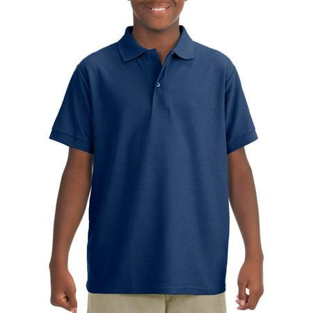 Jerzees School Uniform Short Sleeve Wrinkle Resistant Performance Polo Shirt (Little Boys & Big Boys)