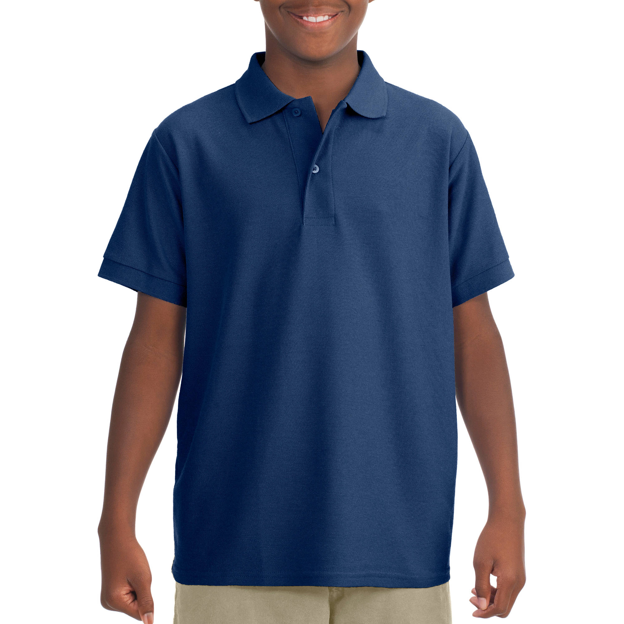 JERZEES Boys' Short Sleeve Wrinkle Resistant Performance Polo Shirt