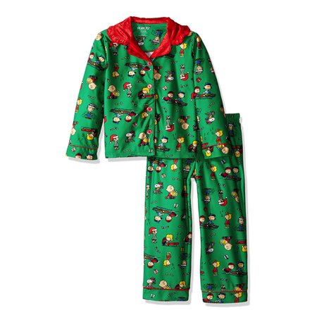 Charlie Brown Peanuts Little Big Girls' 2pc Holiday Sleepwear Set, Green, Sizes XS, S, M, L - It Is Halloween Night Charlie Brown