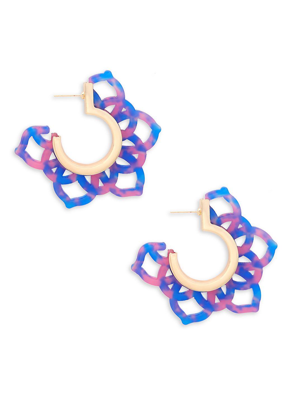 Goldtone Floral Cutout Hoop Earrings