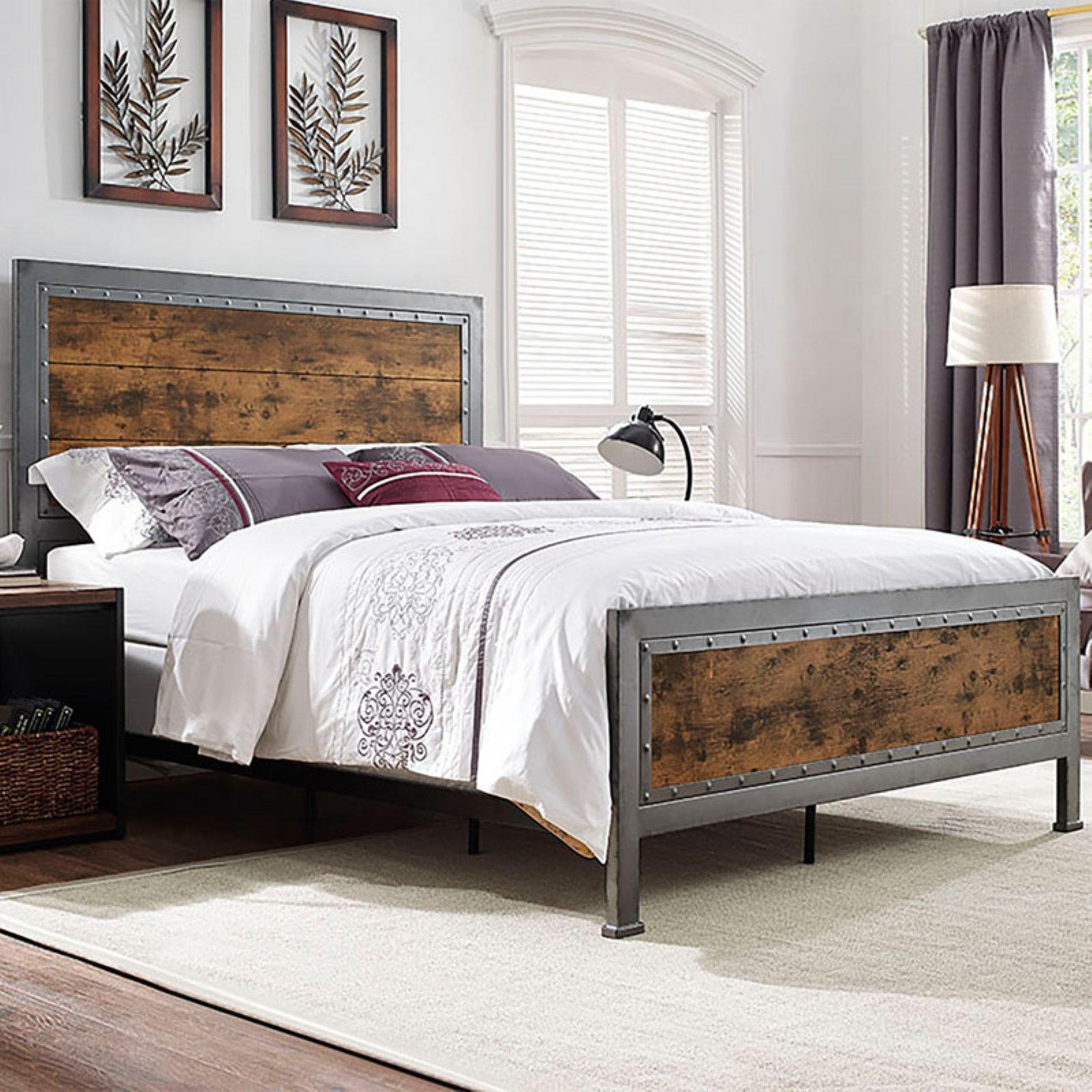 Walker Edison Queen Size Industrial Wood and Metal Bed - Brown