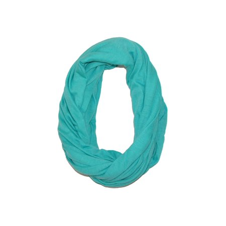 Womens Solid Infinity Loop Scarf with Hidden Zipper Pocket, Aqua