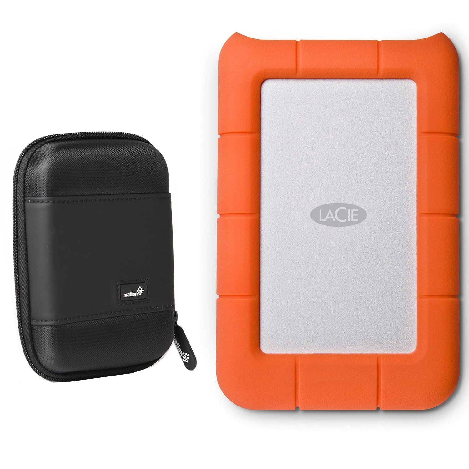 LaCie Rugged Mini USB 3.0 / USB 2.0 1TB External Mobile Hard Drive 301558 With Ivation Compact Portable Hard Drive Case (Small)