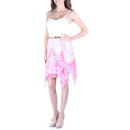 AS YOU WISH Womens Pink Belted Ikat Spaghetti Strap Sweetheart Neckline Knee Length Fit + Flare Dress  Size: 2XS